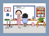 Hair Stylist Cartoon Picture Female - Personalized 8221
