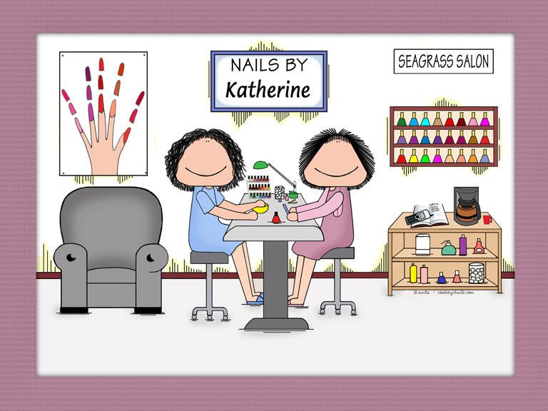 Nail Tech Cartoon Picture | Personalized Manicurist Gifts – Cowboy ...