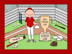 Baseball Coach Trophy Cartoon Picture Male Personalized 8228