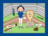 Baseball Coach Trophy Cartoon Picture - Female Personalized 8229