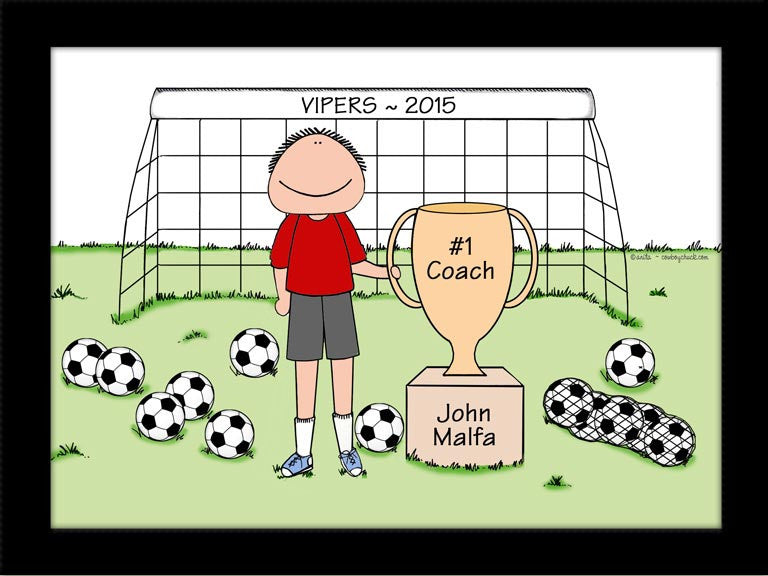 soccer trophy cartoon picture personalized soccer gifts cowboy