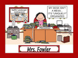 Messy Desk Office Cartoon Picture Female - Personalized 8247