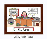 Messy Desk Office Plaque Female - Personalized