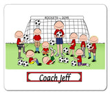 Soccer Coach Mouse Pad Male with Male Players Personalized