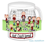 Soccer Coach Mug Male with Female Players
