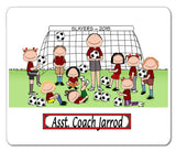 Soccer Coach Mouse Pad Male with Female Players Personalized