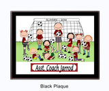 Soccer Coach Plaque Male with Female Players - Personalized