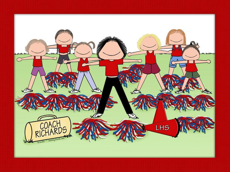 Cheerleading Coach Cartoon Picture Female - Personalized 8259