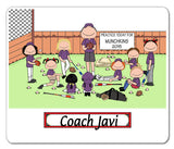Baseball Coach Male with Female Players Mouse Pad Personalized