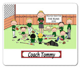 Baseball Coach Male with Mixed Players Mouse Pad Personalized