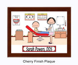 8269 Orthodontist Female with Male Patient Cherry Plaque - Personalized
