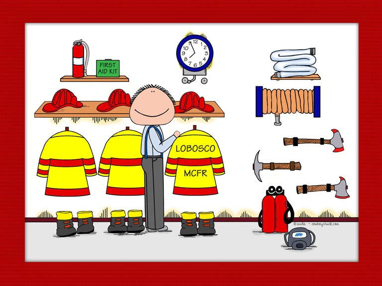 Fire Station Cartoon Picture Male - Personalized 8274