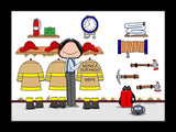Fire Station Cartoon Picture Female - Personalized 8275