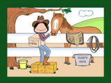 Cowgirl / Horse Lover Cartoon Picture - Personalized 8279