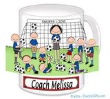 Soccer Coach Mug Female with Male Players