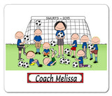 Soccer Coach Mouse Pad Female with Male Players Personalized