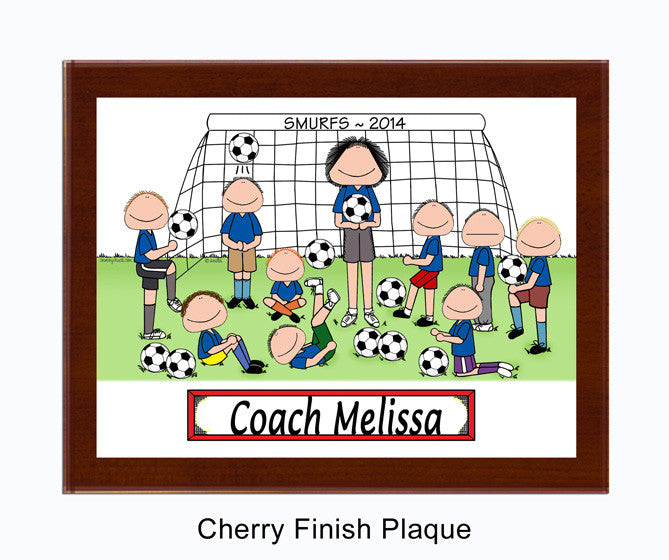 Soccer Coach Plaque Female with Male Players - Personalized