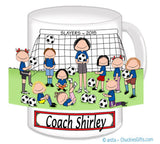 Soccer Coach Mug Female with Female Players