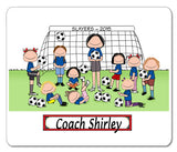 Soccer Coach Mouse Pad Female with Female Players Personalized