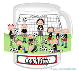 Soccer Coach Mug Female with Mixed Players