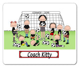 Soccer Coach Mouse Pad Female with Mixed Players Personalized
