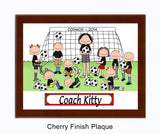 Soccer Coach Plaque Female with Mixed Players - Personalized