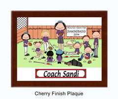 Baseball Coach Plaque - Female with female players