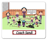 Baseball Coach Female with Female Players Mouse Pad  Personalized