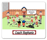 Baseball Coach Female with Mixed Players Mouse Pad  Personalized