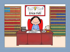 Attorney Cartoon Picture Female - Personalized 8331