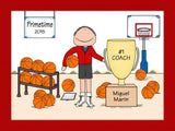 Basketball Trophy Cartoon Picture Male - Personalized 8332