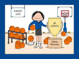Basketball Trophy Cartoon Picture Female - Personalized 8333