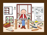 Contractor Cartoon Picture Male - Personalized 8346