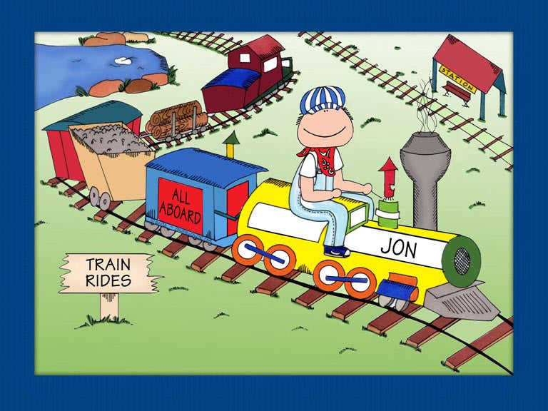 All Aboard Cartoon Picture Male - Personalized 8350
