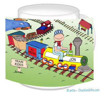 All Aboard Train Lover Mug Male - Personalized