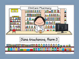Pharmacist Cartoon Picture Female - Personalized 8351