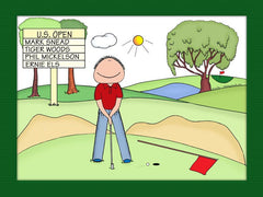 Putting Golfer Cartoon Picture Male - Personalized 8360