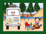 RV Family Cartoon Picture with 1 Kids - Personalized 8361