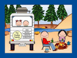 RV Family Cartoon Picture with 2 Kids - Personalized 8362