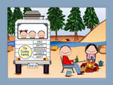 RV Family Cartoon Picture with 3 Kids - Personalized 8363