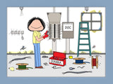 Electrician Cartoon Picture Female - Personalized 8369