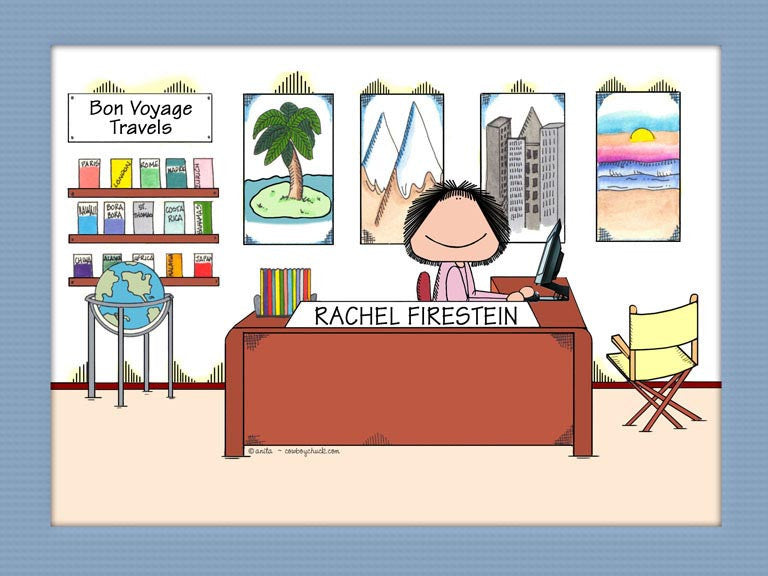 Travel Agent Cartoon Picture Female - Personalized 8371