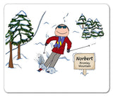 Downhill Skier Mouse Pad Male - Personalized 8377