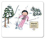 Downhill Skier Mouse Pad Female - Personalized 8377