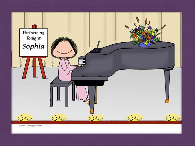 Piano Player Cartoon Picture Female - Personalized 8387