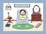 Grandma Baby Boomer Cartoon Picture Female - Personalized 8389