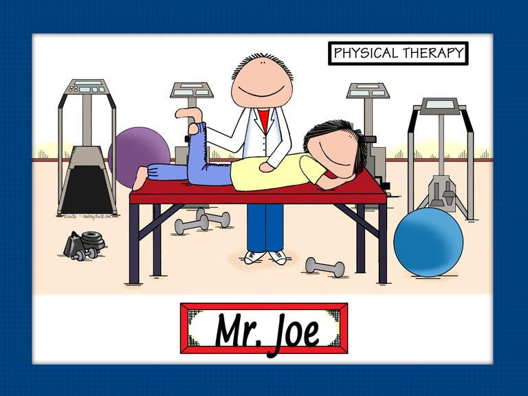 Physical Therapist Cartoon Picture Male - Personalized 8394