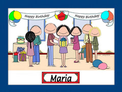 Birthday Party Cartoon Picture Female - Personalized 8395