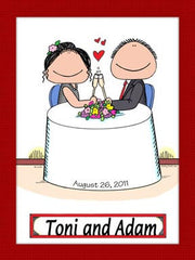 Romantic Couple Cartoon Picture - Personalized 8406
