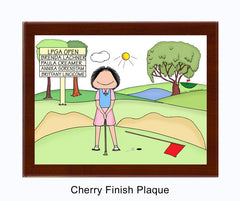 Putting Golfer Plaque Female - Personalized